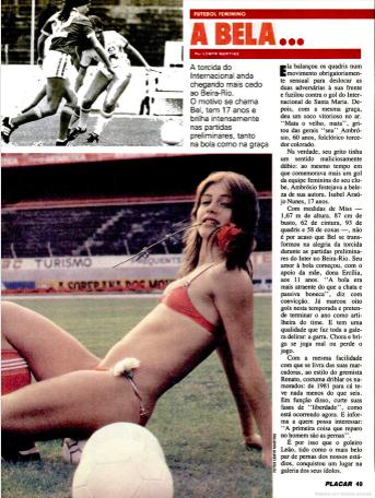 Opinião: Sara Custódio, a final do Campeonato Carioca de Futebol Feminino de 1983 e o imaginário sobre o Futebol Feminino no país - Olimpia Sports