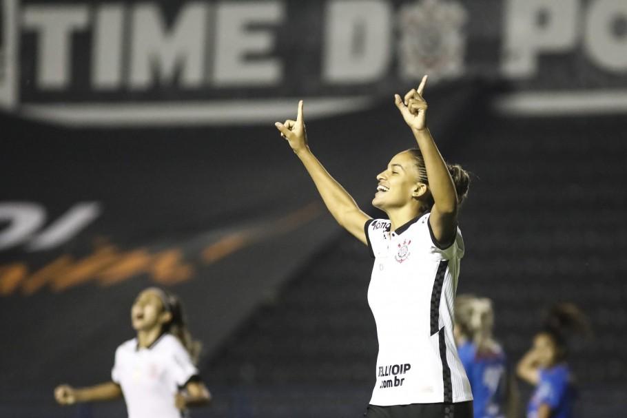 Gabi Nunes comemora seu gol em Corinthians x Napoli, pelo Brasileiro Feminino A-1 Créditos: Rodrigo Gazzanel/Agência Corinthians