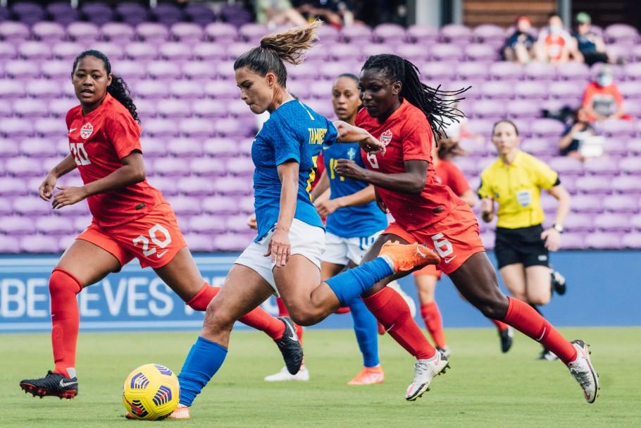 Brasil e Canadá mediram forças pela última rodada do Torneio She Believes, nos Estados Unidos Créditos: Sam Robles/CBF