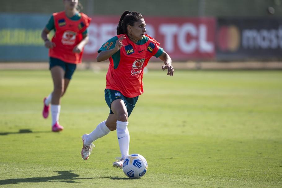 Seleção Feminina faz último treino antes de duelo com a Rússia. Letícia Santos. Créditos: Richard Callis/SPP/CBF