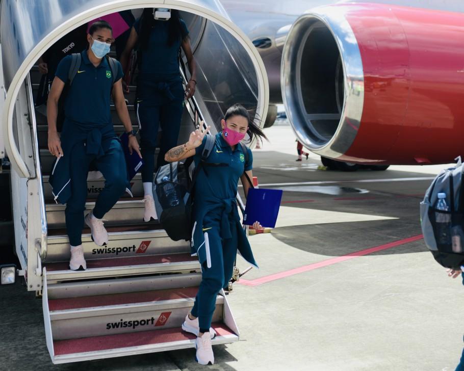 Seleção Feminina desembarca em Tóquio para disputa dos Jogos Olímpicos. Debinha. Créditos: Sam Robles/CBF