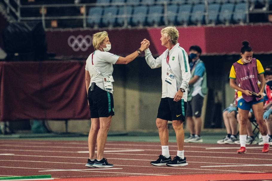 Brasil e China se enfrentaram pela rodada de abertura dos Jogos Olímpicos de Tóquio 2020. Pia Sundhage. Créditos: Sam Robles/CBF
