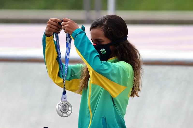 A atleta Rayssa Leal conquista medalha de prata no skate street nos Jogos Olímpicos de Tóquio. Local: Ariake Urban Sports Park Data: 26/07/2021 Crédito obrigatório: Foto: Breno Barros/rededoesporte.gov.br