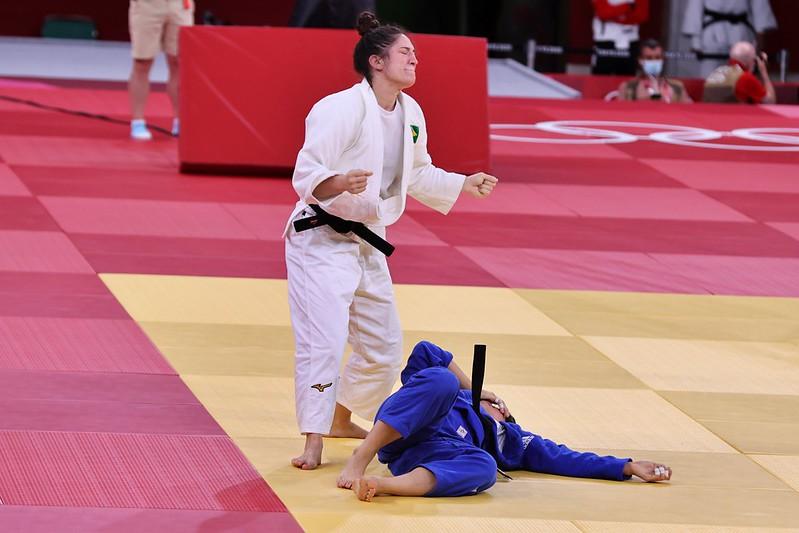 Mayra Aguiar  A judoca brasileiro Mayra Aguiar contra Hyunji Yoon, da Coreia do Sul, durante os Jogos Olímpicos de Tóquio.   Local: Nippon Budokan . Data: 29/07/2021   Crédito obrigatório: Foto: Breno Barros/rededoesporte.gov.br