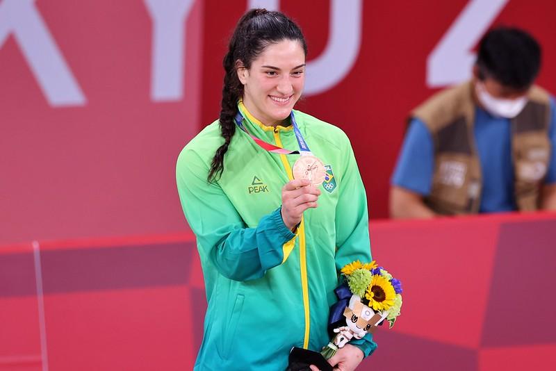 Mayra Aguiar A judoca brasileiro Mayra Aguiar conquista a medalha de bronze durante os Jogos Olímpicos de Tóquio. Local: Nippon Budokan . Data: 29/07/2021 Crédito obrigatório: Foto: Breno Barros/rededoesporte.gov.br