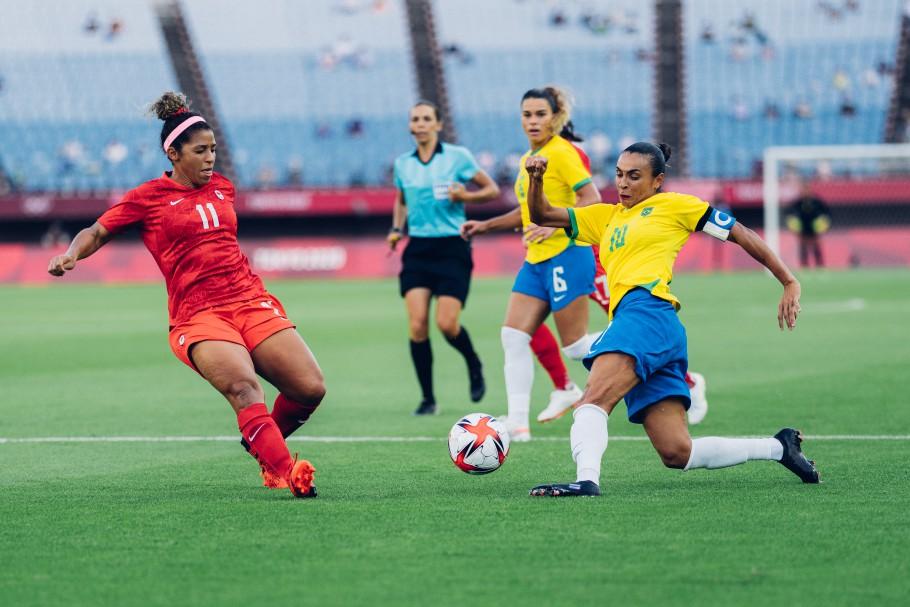 Marta liderou a equipe em campo, mas o gol não saiu e a seleção acabou eliminada. Foto: Sam Robles/CBF