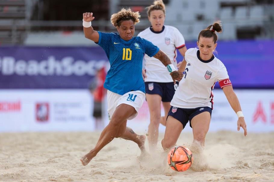 Contra os EUA, a Seleção conseguiu uma virada histórica e assegurou o título Créditos: Beach Soccer World Wide