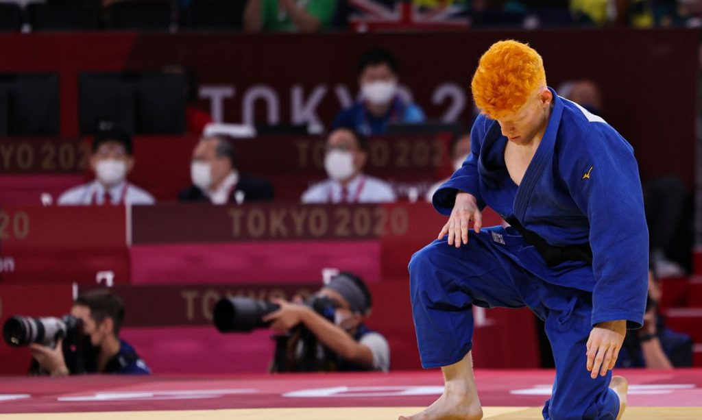 27.08.21 -Thiego Marques , Atleta da selecao brasileira de Judo enfrenta o japones Hirai takaaki na fase classificatória dos jogos Paralímpicos de Toquio no NIPPON BUDOKAN em Toquio Foto: Takuma Matsushita/CPB.