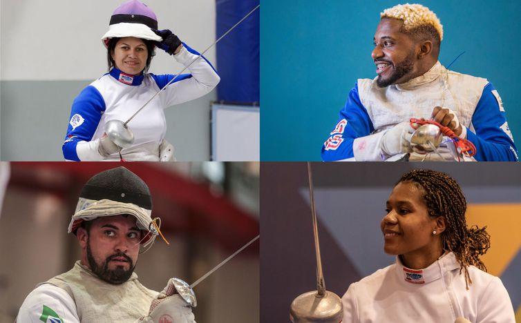 Mônica Santos, Vanderson Luís Chaves Jovane Guissone e Carminha Oliveira são os esgrimistas que representarão o Brasil a partir da próxima terça-feira (24), na Paralimpíada de Tóquio - Reprodução Twitter/Conf Bras Esgrima