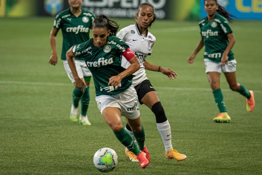 Pela ida da semifinal do Brasileiro Feminino A-1, Palmeiras e Corinthians ficaram no 0 a 0 no Allianz Parque Créditos: Rebeca Reis/AGIF