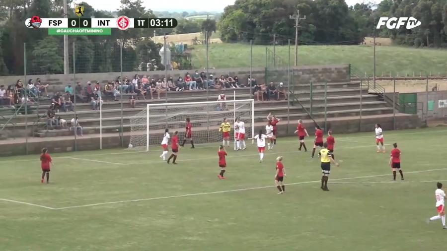 Inter abre o placar diante do Flamengo de São Pedro   Reprodução Youtube FGF